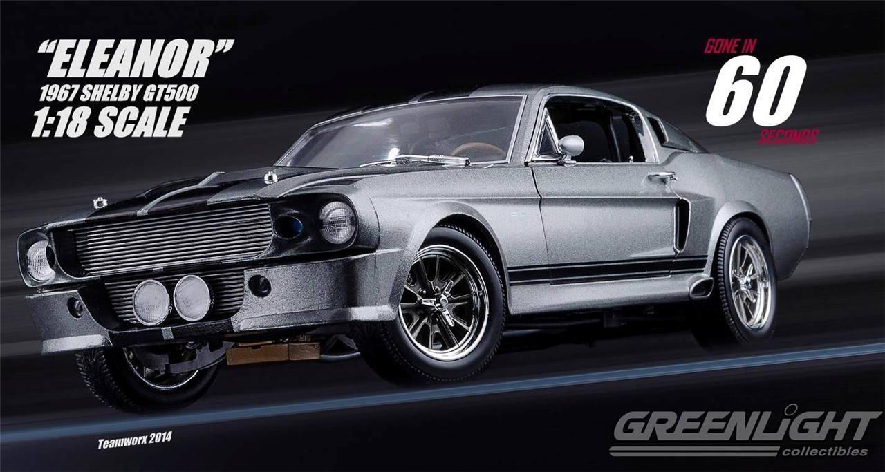 news 1967 ford mustang shelby gt500 eleanor car go in 60 seconds collection car greenlight 1 18. Black Bedroom Furniture Sets. Home Design Ideas