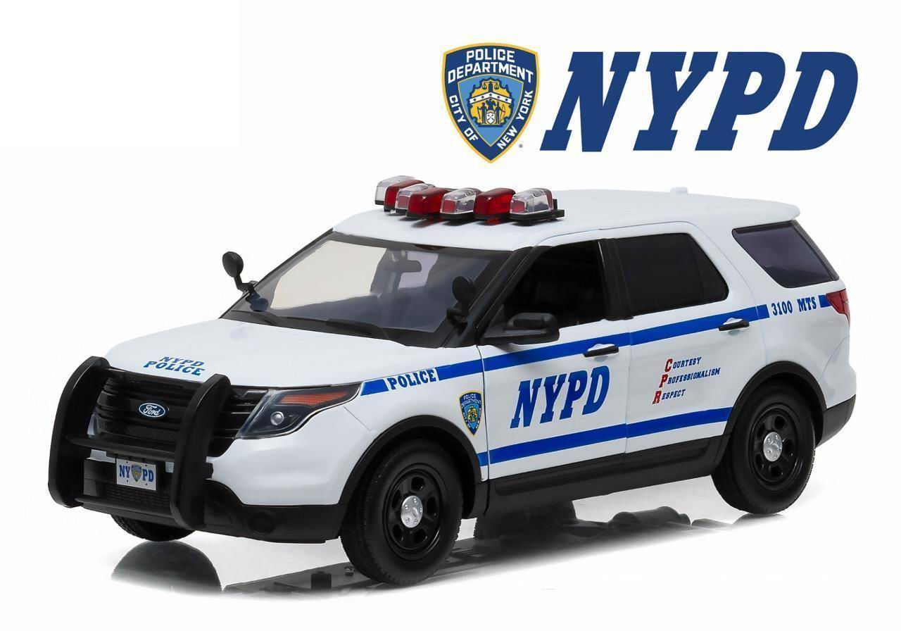 Voiture MINIATURE FORD POLICE INTERCEPTOR 2015 NYPD NEW YORK POLICE DEPARTMENT 1/18 Gyrophares et Sirene Electroniques