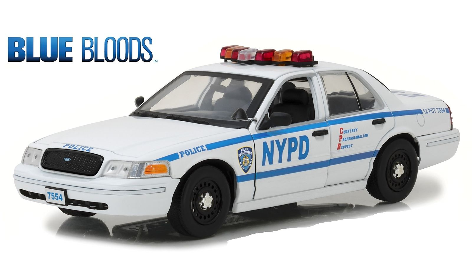 Voiture FORD CROWN VICTORIA 2001 NYPD NEW YORK POLICE DEPARTMENT BLUE BLOODS NYPD NEW YORK POLICE DEPARTMENT 1/18