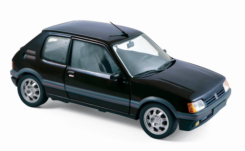 miniatures autos 1 18 norev peugeot peugeot 205 gti 1 9l de 1988 noir voiture de. Black Bedroom Furniture Sets. Home Design Ideas