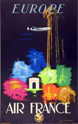Affiche AIR FRANCE Europe - A.Maurus 1948