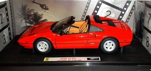 figurines cars movies diecast vehicle ferrari 308 gts from the tv serial magnum 1 18. Black Bedroom Furniture Sets. Home Design Ideas