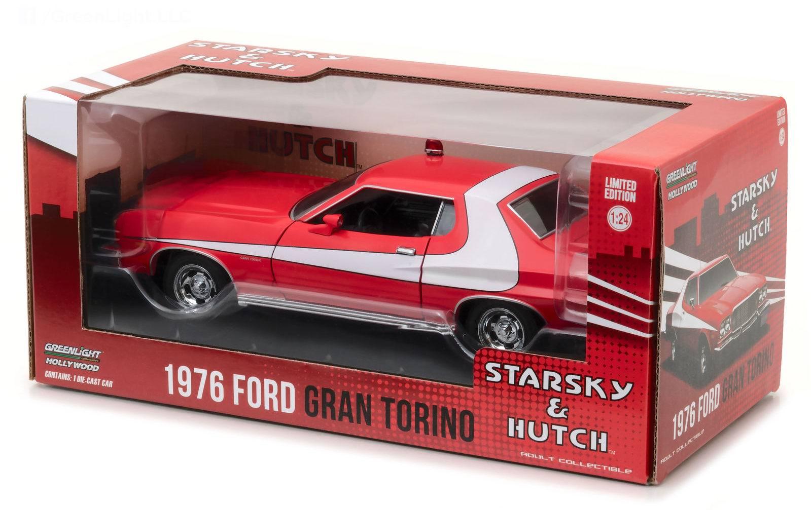 Figurines Cars Movies 1976 Ford Gran Torino Starsky Et Hutch 1964 Grand Plastic Diecast Model 1 24
