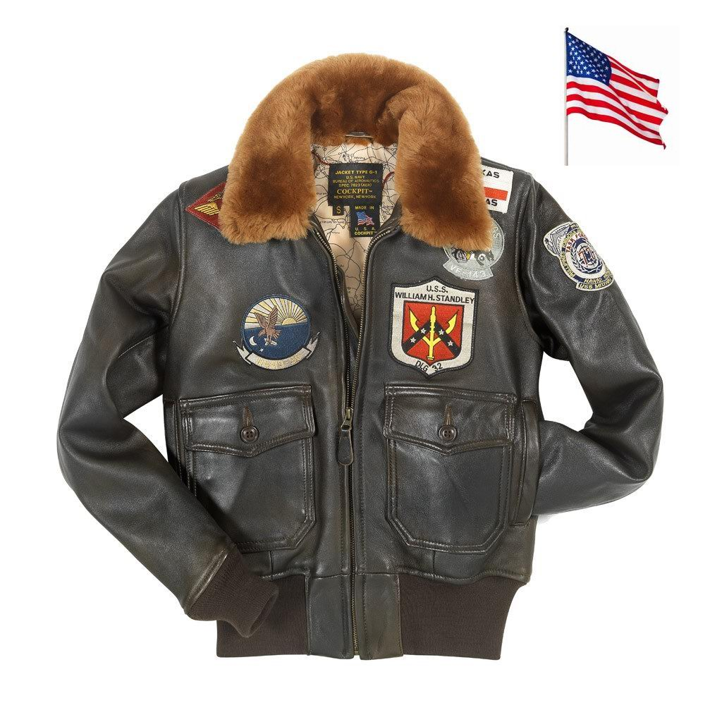 blouson aviatrice cuir top gun navy g 1 cockpit usa ex. Black Bedroom Furniture Sets. Home Design Ideas