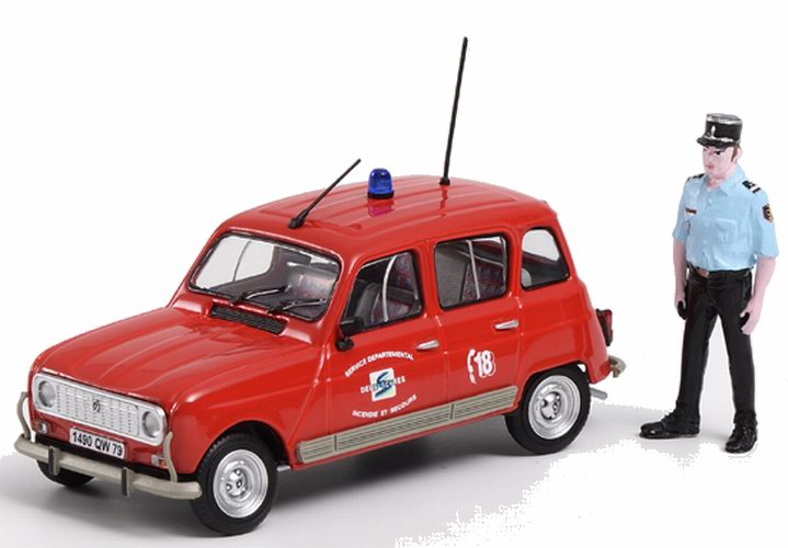Voiture Renault 4L pompier avec Figurine 1/43 ELIGOR