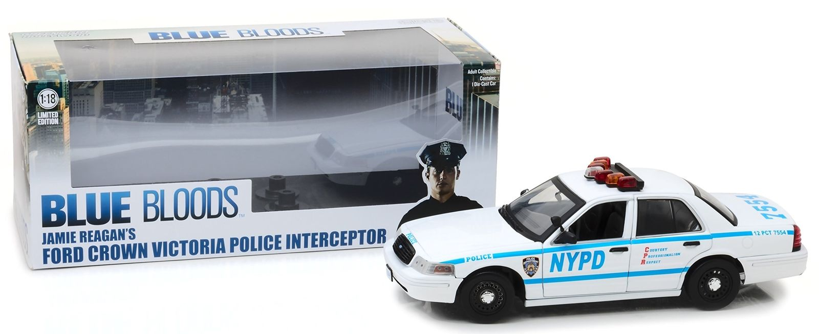 Voiture FORD CROWN VICTORIA 2001 NYPD NEW YORK POLICE DEPARTMENT JAMIE REAGAN BLUE BLOODS NYPD NEW YORK POLICE DEPARTMENT 1/18