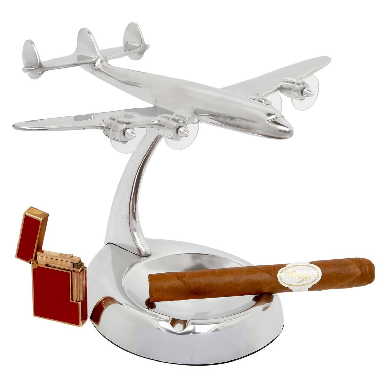 maquette avion SuperG Constellation en aluminium poli sur cendrier
