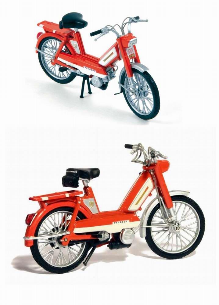 Miniature Mobylette PEUGEOT 103L de 1972 Orange 1/18 NOREV