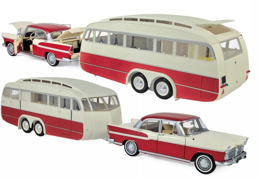 Voiture miniature en métal SIMCA Chambord avec Caravane Hénon 1958 Rouge Cardinal et Ivoire 1/18 Norev