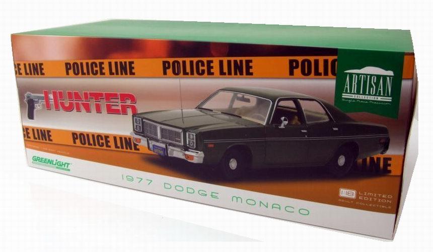 Dodge Monaco 1977 Hunter TV-Serie grün Modellauto 1:18 Greenlight Collectibles