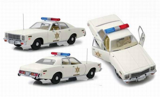 Voiture Plymouth Fury Police Sherif Rosco Purvis Coltrane de la série Shérif fais-moi peur en métal au 1/18