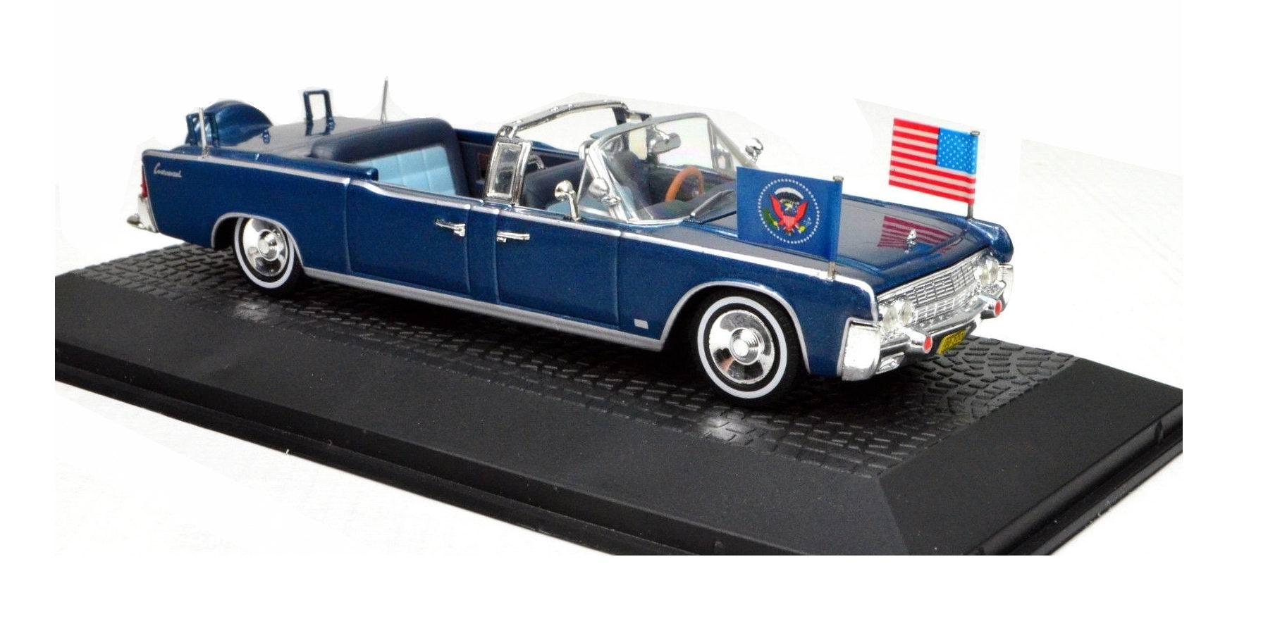 Voiture en métal Lincoln CONTINENTAL cabriolet SS-100-X Voiture Présidentielle JFK Kennedy 1/43