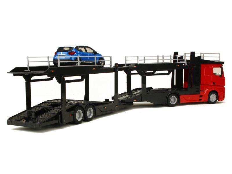 Camion MERCEDES Actros en Métal Avec Remorque Porte Voitures 1/43 45 cm  Renault Captur en Métal 1/43