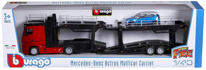 Camion MERCEDES Actros transport autos en Métal Avec Remorque Porte Voitures 1/43 Renault Captur en Métal 1/43