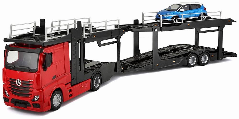 Camion MERCEDES Actros en Métal Avec Remorque Porte autos 1/43 45 cm Renault Captur en Métal 1/43