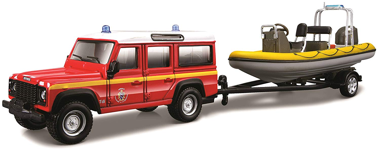 Voiture miniature en métal Land Rover Defender pompier Zodiac sur remorque  1/43 burago