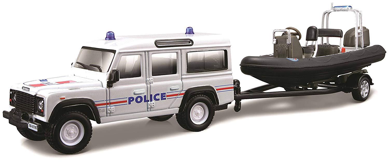 Voiture miniature en métal Land Rover Defender Préfecture de Police sur remorque  1/43 burago