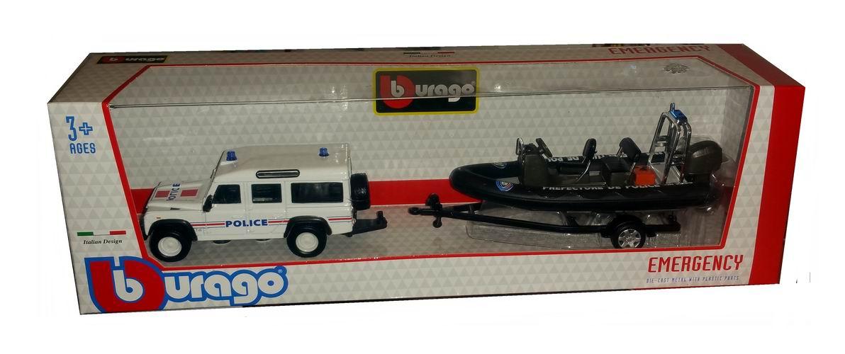 Voiture miniature en métal Land Rover Defender Préfecture de Police Zodiac sur remorque 1/43