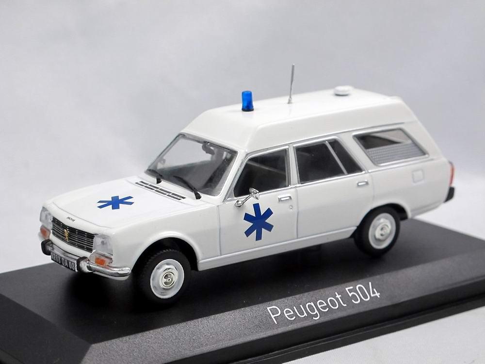 Voiture miniature PEUGEOT 504 Break Ambulance Norev 1/43