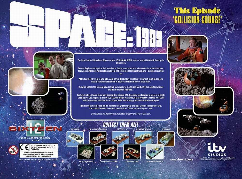 Maquette COSMOS 1999 COLLISON COURSE Eagle Transporteur avec Buggy Lunaire Mines Nucléaires Base Alpha en Métal 30 cm Saison 1 Episode 13 Edition Limitée et Numérotée