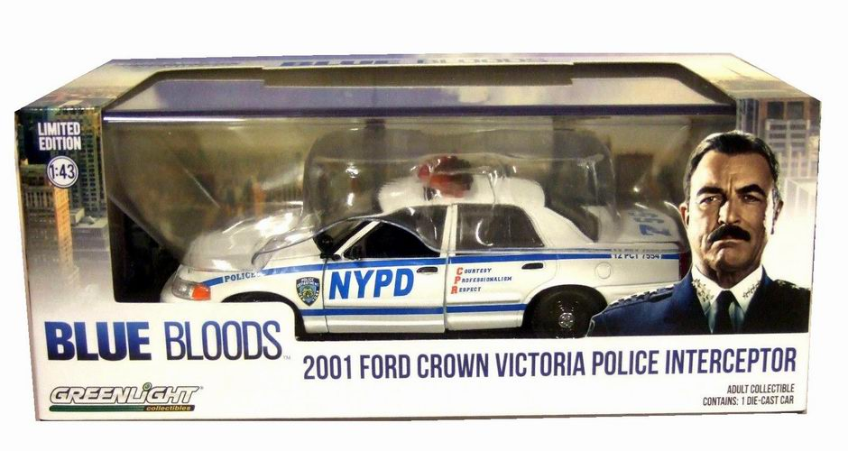 Voiture FORD CROWN VICTORIA 2001 NYPD NEW YORK POLICE DEPARTMENT BLUE BLOODS NYPD NEW YORK POLICE DEPARTMENT 1/43