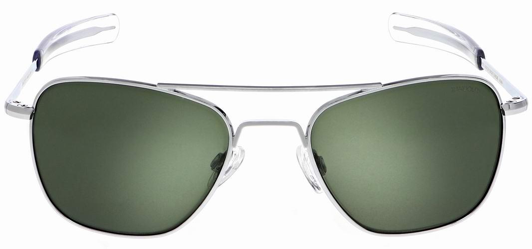 LUNETTES DE SOLEIL aviateur monture argent chrome verre vert Randolph