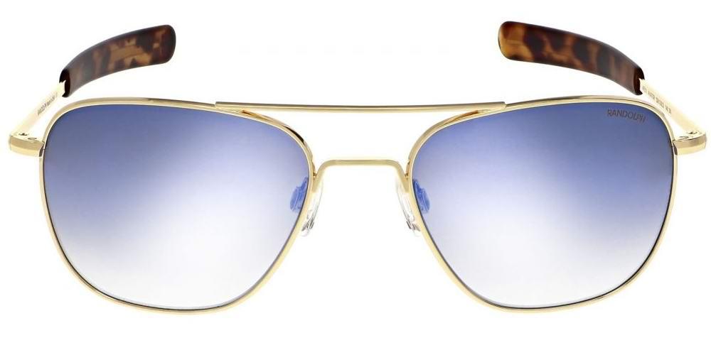 LUNETTES DE SOLEIL aviateur monture or rose flash miroir verre bleue Randolph