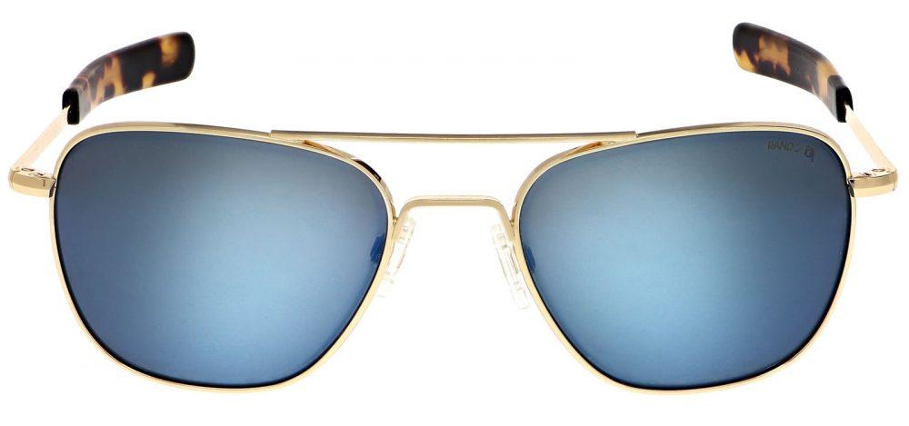 LUNETTES DE SOLEIL US AIR FORCE aviateur monture Or 23K verre polarisé bleu cobalt Randolph