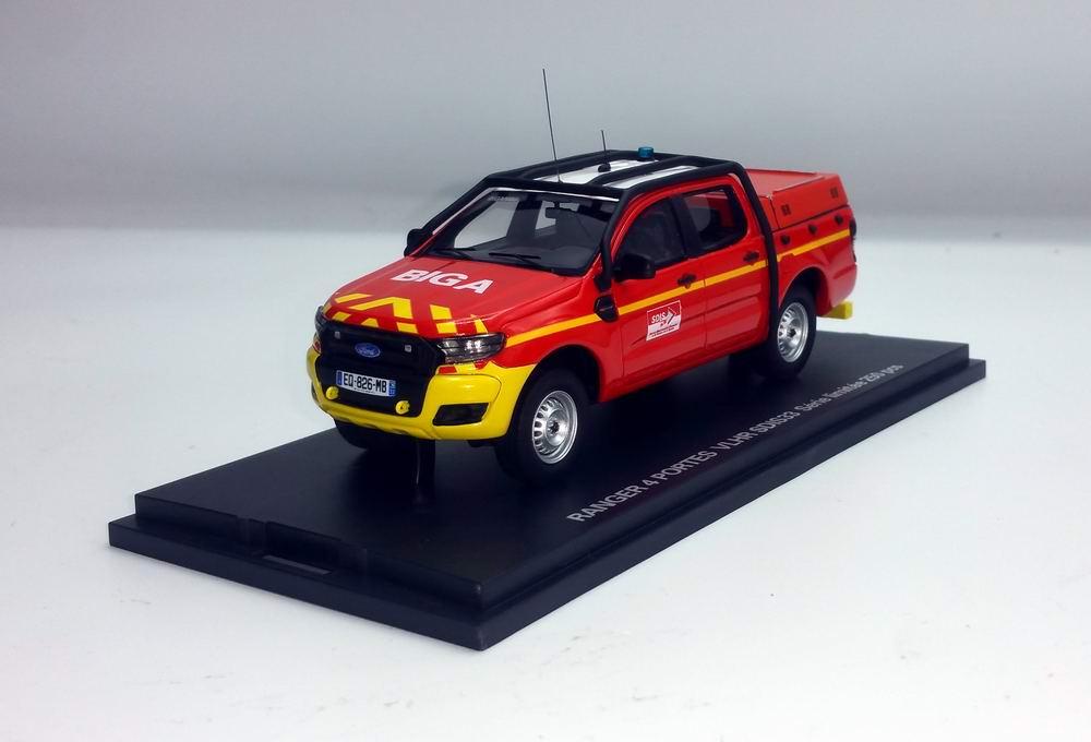 Miniature Ford Ranger Véhicule Liaison Hors Route Sapeurs Pompiers SDIS 33 BIGANOS 1/43 Alarme