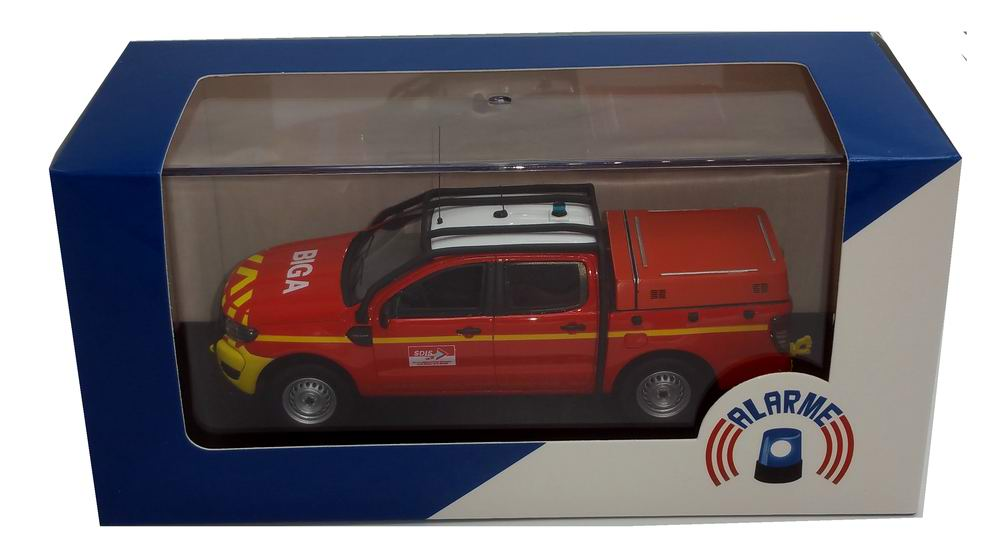Miniature Ford Ranger VLHR Sapeurs Pompiers SDIS 33 BIGANOS 1/43 Alarme