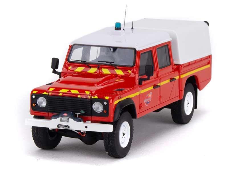 Miniature LAND ROVER DEFENDER 130 Véhicule de Liaison Hors Route Nautique Sapeurs Pompiers SDIS 44 1/43 Alarme