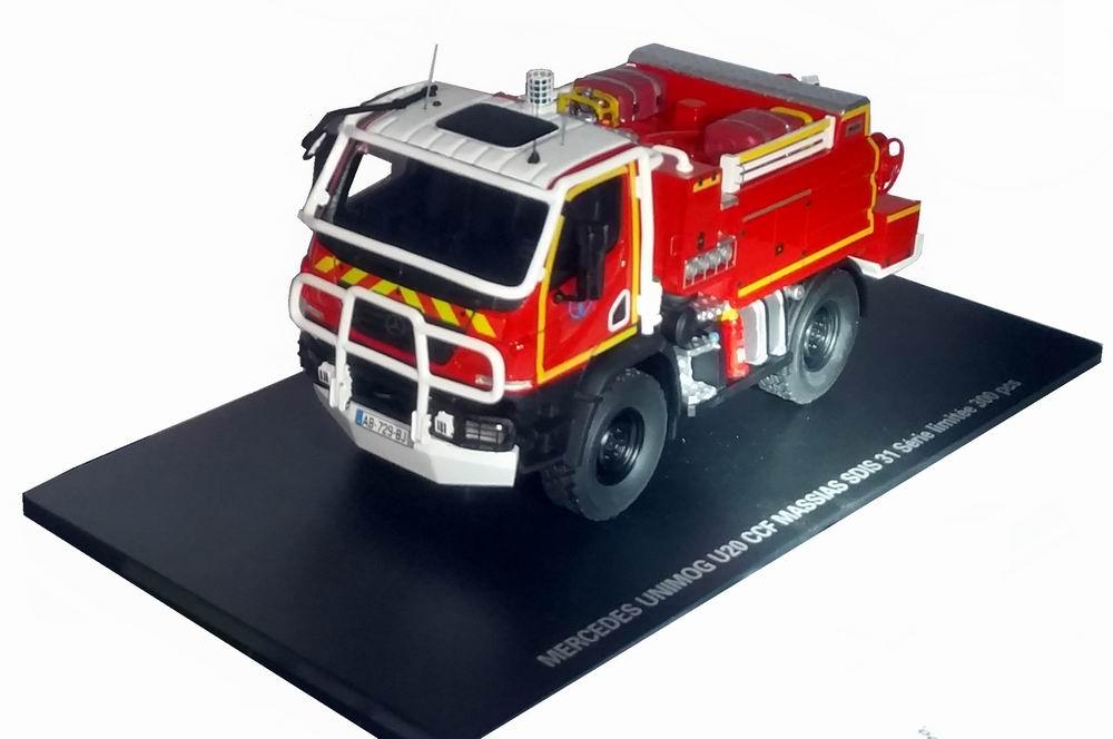 Miniature MERCEDES Unimog U20 CCF Massias SDIS 31 Haute-Garonne Camion de Sapeurs Pompiers 1/43 Alerte
