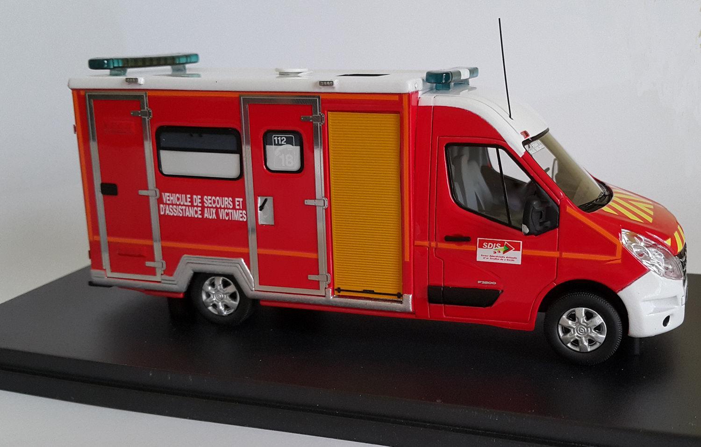 Camion de Sapeurs Pompiers RENAULT MASTER 3 CAISSON VSAV 33 1/43 Alerte