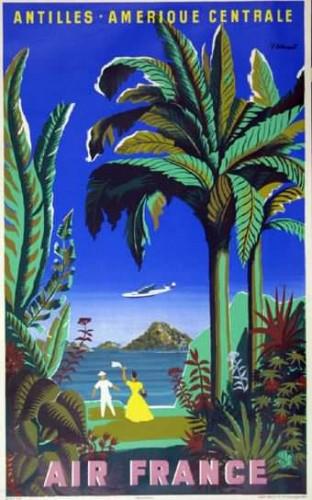 Affiche AIR FRANCE Antilles Amérique Centrale Villemot