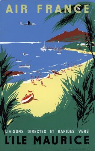 Affiche AIR FRANCE Île Maurice - Renluc 1954