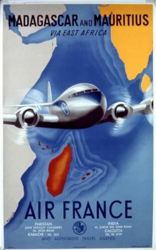 Affiche AIR FRANCE Madagascar and Mauritius Renluc