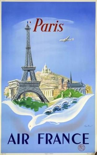 Affiche AIR FRANCE Paris Manset 1952