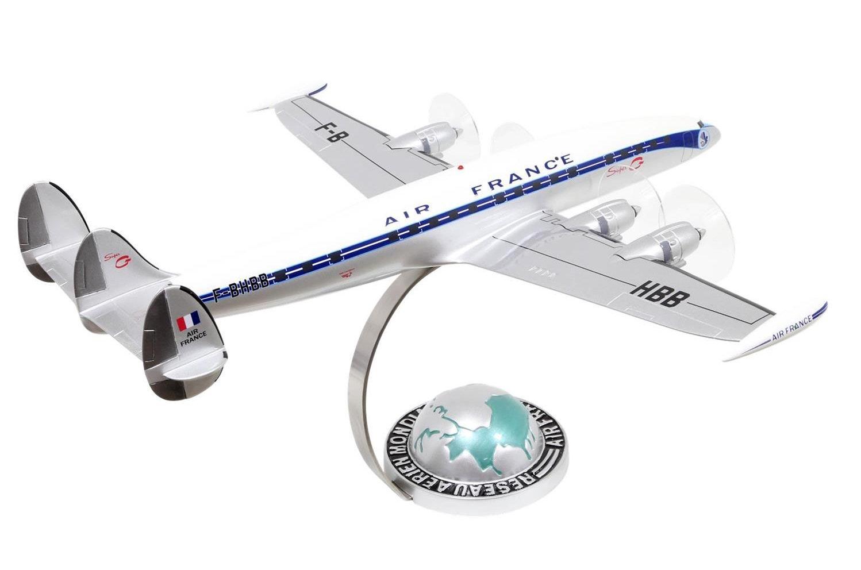 Maquette avion LOCKHEED SUPER CONSTELLATION AIR FRANCE sur socle demi-globe