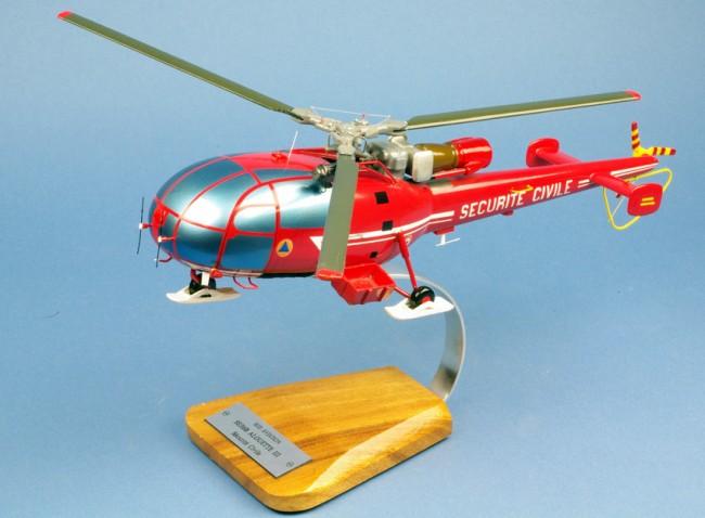 Maquette Hélicoptère ALOUETTE 3 SA.316B Sécurité Civile 1/25