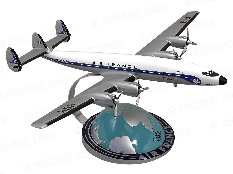 Lockheed Super Starliner AIR FRANCE sur socle demi-globe Socatec