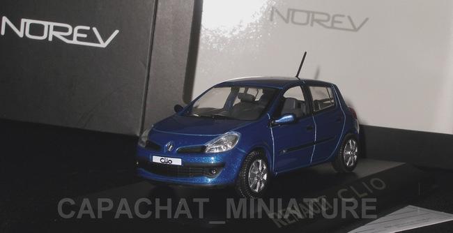 Voiture miniature Renault ClioIII bleue Ottoman NOREV 1/43