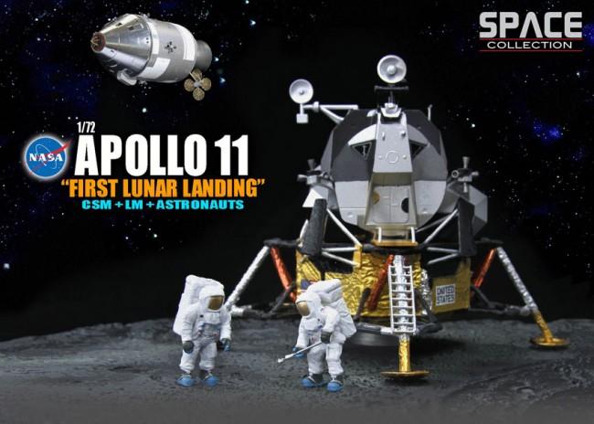 Diorama Apollo 11 Premier Atterrissage sur la Lune avec le Module de Commande et de Service CSM Columbia avec Module Lunaire LEM Eagle et Astronautes Dragon Wings 1/72