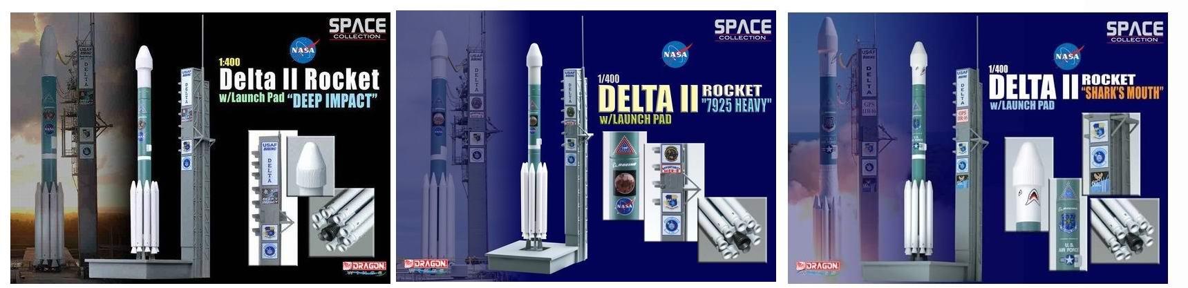 Set Maquettes Fusées DELTA II Deep Impact - Mars Exploration Rover B Opportunity - Shark's Mouth sur Pas de Tir au 1/400