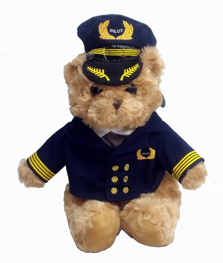 Peluche Ourson Aviateur Pilote Commandant de Bord