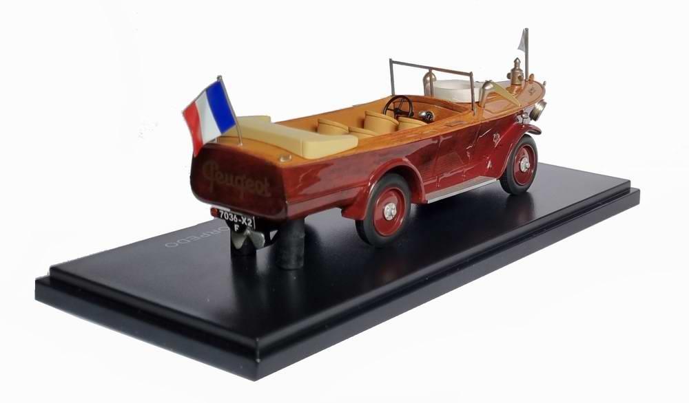Miniature PEUGEOT 177 MOTORBOAT CAR 1925 AVEC CABINE