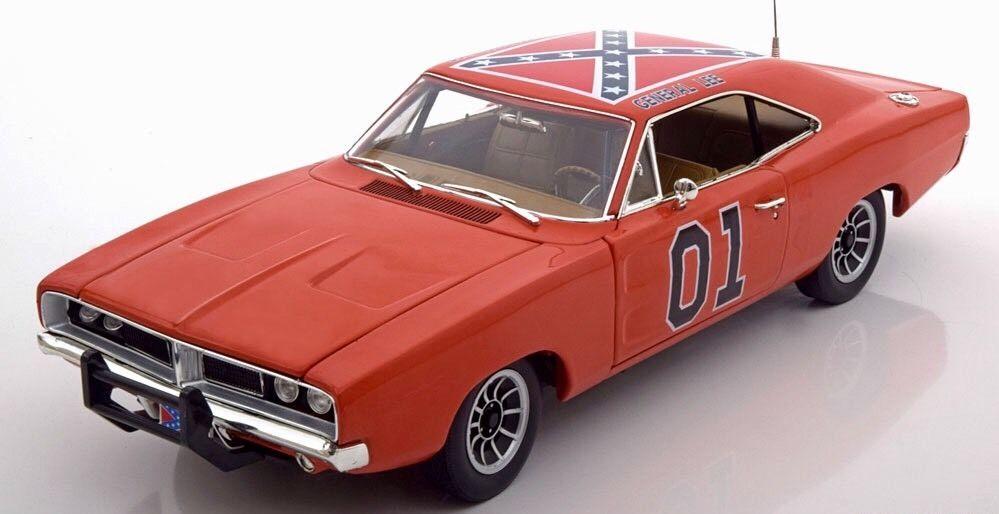 Voiture miniature Dodge Charger 1969 de la série Shérif fais-moi peur en métal au 1/18