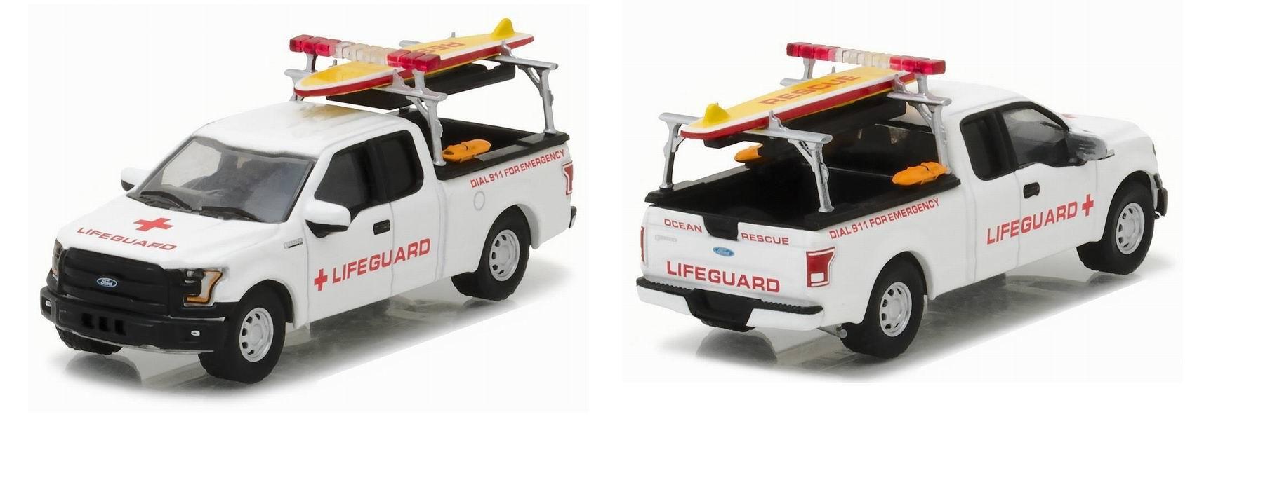 Voiture Ford F150 Pickup Lifeguard Sauveteurs en Mer avec Accessoires 1/64