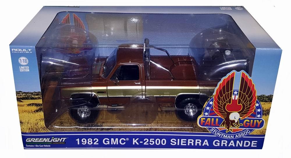 Voiture miniature GMC Sierra K2500 L'Homme Qui Tombe à Pic Colt Seavers Stuntman Association 1/18 Greenlight