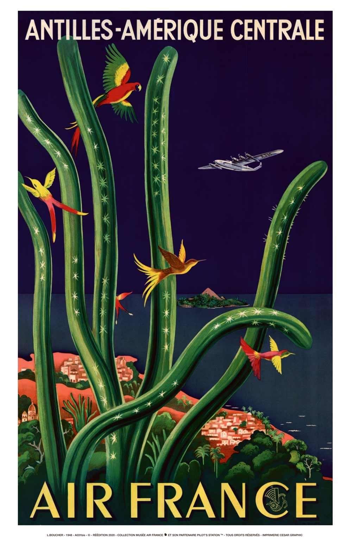 Affiche AIR FRANCE Antilles Amérique Centrale Boucher