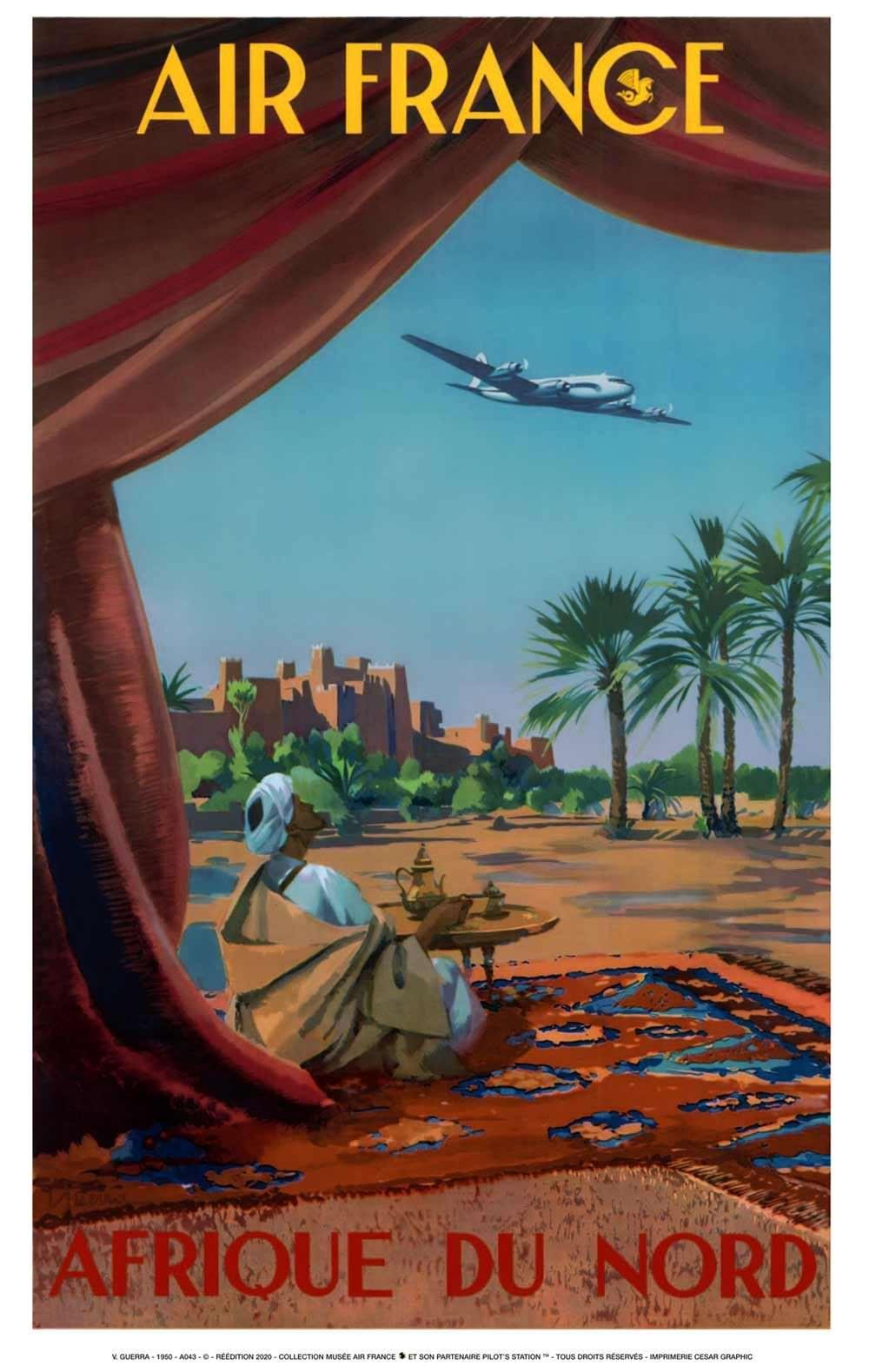 Affiche AIR FRANCE Afrique du Nord - Guerra 1950